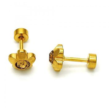 Stainless Steel Stud Earring, Flower Design, with Crystal, Gold Tone