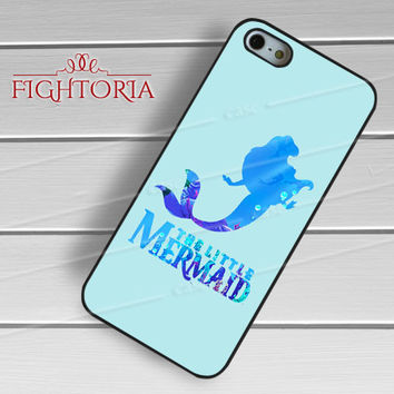 Disney princess Ariel Neptune blue Little Mermaid silhouette -end for iPhone 4/4S/5/5S/5C/6/6+,samsung S3/S4/S5/S6 Regular/S6 Edge,samsung note 3/4