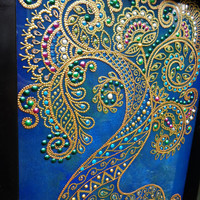 "Mehndi Tree of life 11""x9"" Glass painting Bohemian decor"