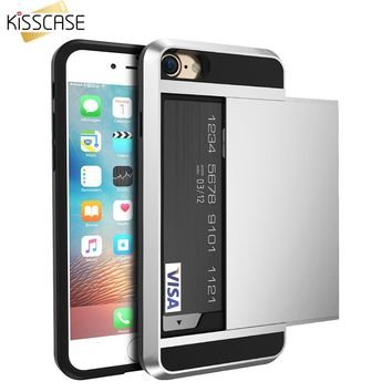 KISSCASE Armor Case For iPhone 6 6s 7 7 Plus Hybrid Slide Card Holder Luxury PC TPU Cover Case For iPhone 6 5 5s SE Accessories