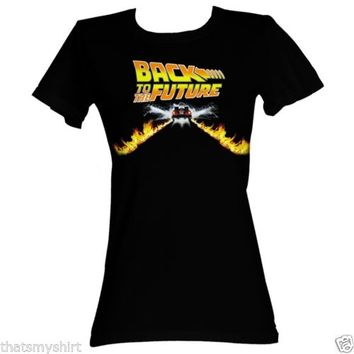 New Authentic Back to the Future Car Juniors Tee Shirt