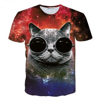 2017 New Fashion Men/Women 3D T-Shirt Funny Print Glasses Cat Space Galaxy T Shirt Slim Summer Anime Tops Tee