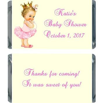18 Princess Baby Shower Miniature Chocolate Bar Wrappers Light Skin
