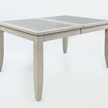 Wooden Extension Dinning Table With Ceramic Tiles Inserted Top, Antique Gray