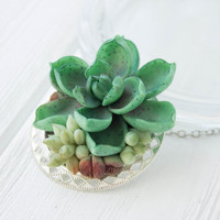 Green Succulent Necklace Pendant succulent plants Metal basis medallion Pendant Jewelry Succulent mother mom gifts for mums