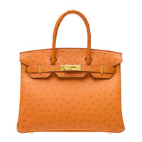Hermes Orange Ostrich 30cm Birkin Bag