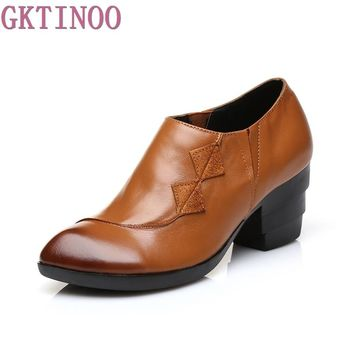 Spring High Heels Women Genuine Leather Handmade Vintage Shoes Woman Thick Heels Pumps Casual Women's Shoes