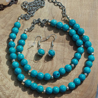 Turquoise Necklace, Bracelet and Earrings Set ~ Turquoise Howlite Stones ~ Stone jewellery ~ Boho Necklace ~ Bohemian Bracelet ~ Earrings