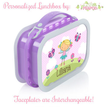 Personalized Lunchbox with Interchangeable Faceplates - Double-Sided Sweet Fairy Lunchbox