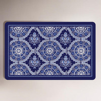 Blue Floral Cushioned Floor Mat - World Market