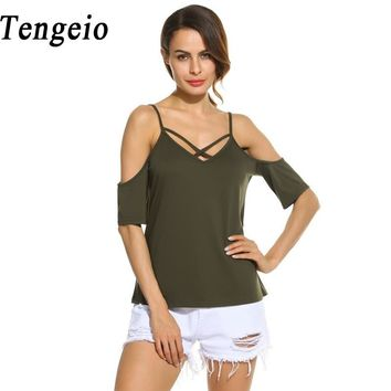 Tengeio Women Cold Shoulder Tops Tunic Shirt Cross Strap Backless Blouse Cheap Clothes China blusa feminina 2017 Tunique 630