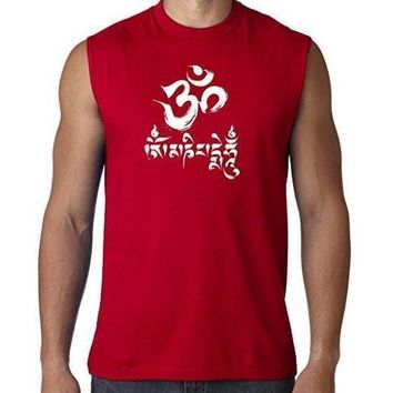 Yoga Clothing for You Mens Om Mani Padme Hum Sleeveless Tee