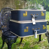 Vintage Navy Blue Belber Stacking Suitcase Set American Airlines Flight Attendant Luggage
