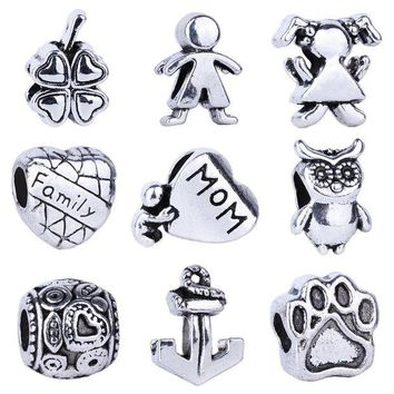 DCCKG6WU Silver Bead Charms European Bead Fit Pandora Bracelet Necklace