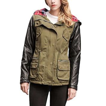 [16346] Quilted Sleeve Leather Look Parka