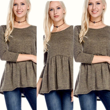 Lightweight Ruffle Sweater Top in Olive