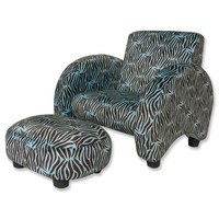 Trend Lab Zebra Blue Sweet Safari Sleek Chair - 107012