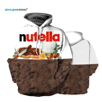 Ehuanhood New Fashion Men/Women 3d Hoodies Print Nutella Food Hip Hop Pullover Sweatshirt Casual Style Brand Tracksuits Tops