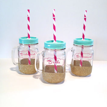 Bride and Bridesmaid Tumblers - Mason Jar Tumbler - Bride and Bridesmaid Cups, wedding party glasses, Bride Gift, Bridesmaid Gift