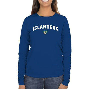 Texas A&M Corpus Christi Islanders Ladies Mascot Logo Long Sleeve Classic Fit T-Shirt - Royal Blue