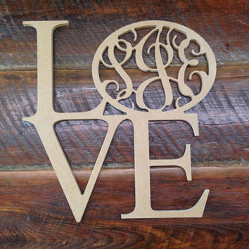 3-Letter monogram LOVE wood door/wall hanger
