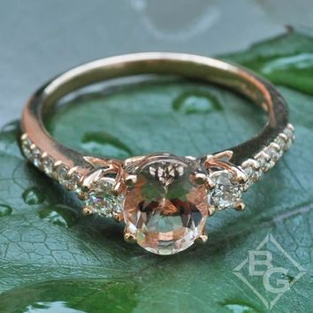 Ben Garelick Rose Gold Three Stone Oval Cut Morganite Engagement Ring