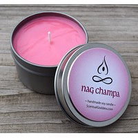 NAG CHAMPA CANDLE - Zen Meditation Candle - Earthy Indian Incense Scented Soy Candle