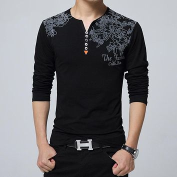 2017 Autumn Fashion Floral Print Men T-shirt Henry Collar Button Decorate Long Sleeve T-shirt for Men Tops Plus Size 5XL
