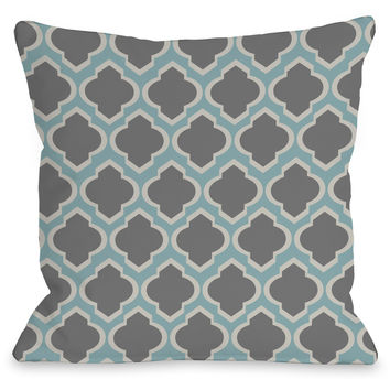 """Macy Moroccan"" Indoor Throw Pillow by OneBellaCasa, Aqua/Light Gray, 16""x16"""