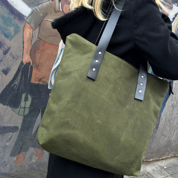 Green Waxed Canvas Tote Bag,Zippered Canvas Tote, Leather Strap Tote,Water Resist Tote,Khaki Canvas Tote Bag,Canvas Tote Bag,Gift For Her