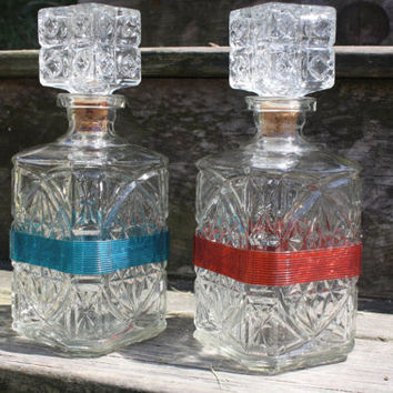 Pair of Cut Glass Decanters,Bar Ware,Serving