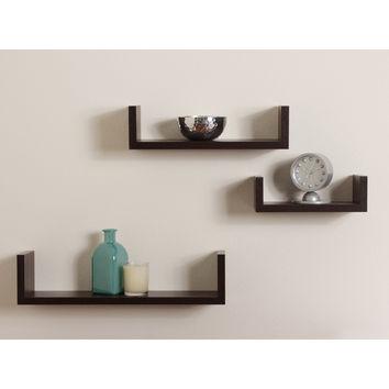 Danya B Floating 'U' Laminated Walnut Veneer Shelves (Set of 3)