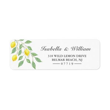 Modern Watercolor Lemon Summer Wedding Address Label