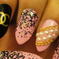 Baby Pink Designer Inspired Press On Stiletto Nails with Chains & Pearls
