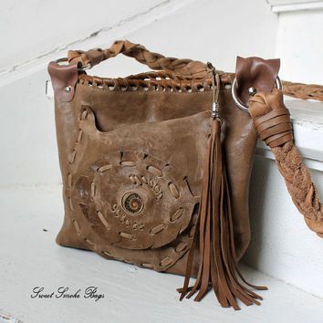 Natural milky brown light leather asymmetrical pocket purse natural ammonite fossil boho bohemian style gypsy ethnical african artisan bag