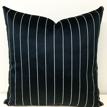 Black Velvet Pillow Cover, Striped Velvet Pillow, Velvet Pillows, Throw Pillows, Black Velvet Couch Cushion Case Covers 18X18 20X20 24X24
