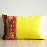 Patchwork pillow covers with handmade Thai Hmong fabrics - yellow neon