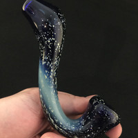Sale Cobalt Glass Silver Fumed Starry Night Tobacco Space Sherlock Pipe