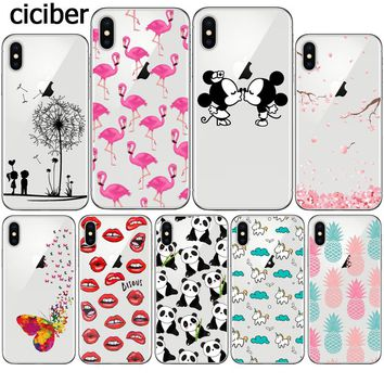 Flamingo Mickey Mouse Flower Panda Pug Unicorn Case for iphone 8 7 6 6S PLUS 10 5 5S SE Silicone Transparent Soft Clear Capinha