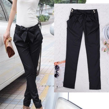 Sexy Women Fashion Harem Skinny Long Trousers Casual Slim Bow Pants VVF = 1932322500