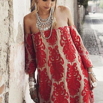 Red Floral Lace Bandeau Boat Neck Long Sleeve Dress