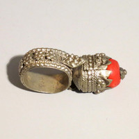 "Vintage Yemen Bedouin tower ""coral"" ring US size 12"