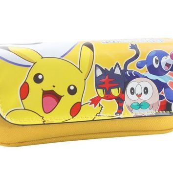 Sun Moon Wallet Anime Cartooon Pen Pencil Bag Kawaii Picacho Print Double Zipper Stationery Purse Pouch Leather WalletsKawaii Pokemon go  AT_89_9