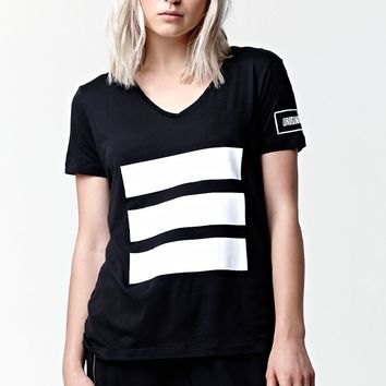adidas Berlin Logo 3 Stripe T-Shirt - Womens Tee - Black