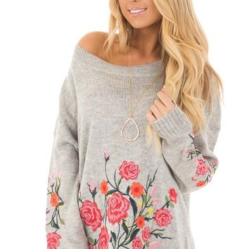 Heather Grey Sweater with Floral Embroidery Detail