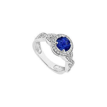 Sapphire and Diamond Halo Engagement Ring : 14K White Gold - 1.40 CT TGW