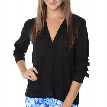 V-Neck Blouse Black