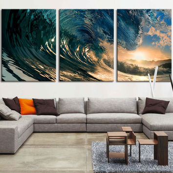 Extra large wall art - Great Wave Large Art Canvas Print, Big Wave in Ocean Wall Art Canvas Print, Wave and Sundown Wall Art Canvas - MC75