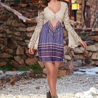 Printed lace dress, slouch boot