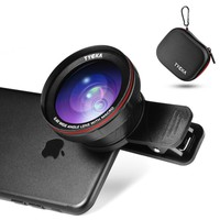 Tycka phone camera lens kit pro, available use on rear dual lens camera, 120° 0.4X no distortion Wide Angle Lens, 15X Marco Lens, portable case and microfiber cleaning cloth for iphone samsung sony